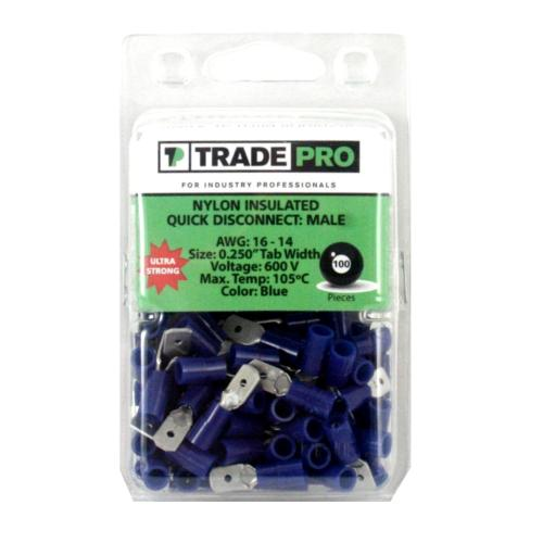 TP-TERM-BQDM250 Male Quick Disconnect Terminals, 100 Count Packs