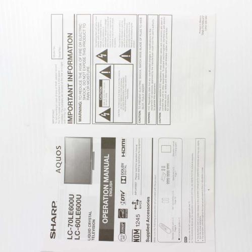 IB-LC60LE600U Sharp Operation Manual