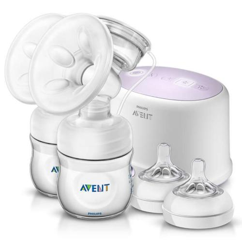 SCF334/00 Avent Comfort Double Electric Breast Pump Two 4Oz Bottles & Nipples Travel Bag